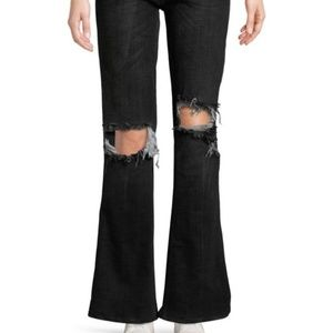 NEW Free People Wide-Leg Distressed Jeans Blk, 31